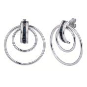 1/10 CT. Blue Diamond Hoop Earrings In Sterling Silver