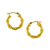 14Kt Gold Twisted Hoop Earrings 14K