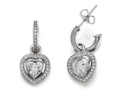 Zoe R(tm) 925 Sterling Silver Micro Pave Hand Set Cubic Zirconia (CZ) One Row Small Hoop Earrings and Heart Shape