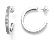 Zoe R(tm) 925 Sterling Silver Micro Pave Hand Set Cubic Zirconia (CZ) Two Row Medium Hoop Earrings