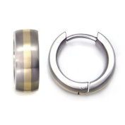 Titanium 14K Gold Inlay Huggie Hoop Earrings