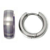 Titanium 14K White Gold Inlay Huggie Hoop Earrings