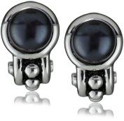 """Honora """"Pallini"""" Black Freshwater Cultured Pearl Semi Hoop Omega Back Earrings"""