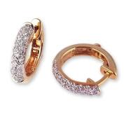Pave Diamond Hoop Earrings in Yellow Gold