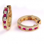 1/2 Carat Channel Set Diamond & Ruby Earrings in 14k Yellow Gold