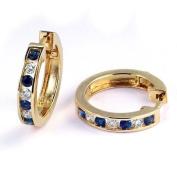 1/2 Carat Channel Set Diamond & Sapphire Earrings in 14k Yellow Gold