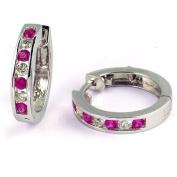 .80 Carat Channel Set Ruby & Diamond Earrings in 14k White Gold
