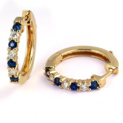 1 Carat Prong Set Sapphire & Diamond Hoop Earrings in 14k Yellow Gold