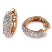 1/2 Carat Pave Set Diamond Hoop Earrings in Yellow Gold