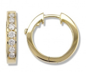 3/4 Carat Channel Set Diamond Earrings in 14k Yellow Gold