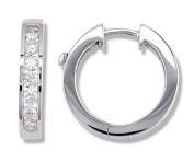 1 Carat Channel Set Diamond Earrings in 14k White Gold