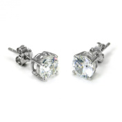 925 Sterling Silver 1.5 tcw Basket Setting 6MM Clear Round CZ Cubic Zirconia Nickel Free Stud Earrings