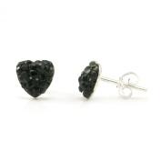 Swaroski Black Crystal Heart Shape Sterling Silver Stud Earrings
