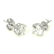 925 Sterling Silver 2.5 tcw Basket Setting 7MM Clear Round CZ Cubic Zirconia Nickel Free Stud Earrings