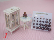Cholocate Colour Bead Faux Pearl Stud Earrings, Wholesale lot of 12 Pairs, Mix Size