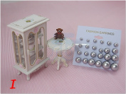 Silver Colour Bead Faux Pearl Stud Earrings, Wholesale lot of 12 Pairs, Mix Size
