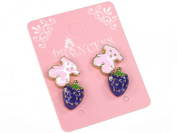 Cute Pink Bear and Clear Crystal Purple Strawberry Stud Earrings, Pack of 2 Pairs