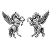 Sterling Silver Earrings Posts Studs Tiny Pegasus Winged Horse