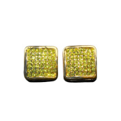 15MM ICED OUT CUSTOM DIAMOND SIMULATE HIP HOP BLING PAVE SQUARE STUD YELLOW EARRINGS