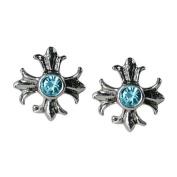 Stud Earrings Sterling Silver - Blue Gem Crosses