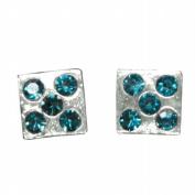 Stud Earrings Sterling Silver - Blue Gem Dice