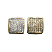 15MM ICED OUT CUSTOM DIAMOND SIMULATE HIP HOP BLING PAVE SQUARE STUD GOLD EARRINGS
