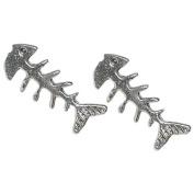 Stud Earrings Sterling Silver - Fish Bone