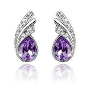 LOCOMO Pair of Angel Wing Water Drop Bling Bling Clear Crystal Rhinestone Electroplated Silver Stud Earrings Purple JER013PUR