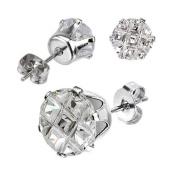 Pair Stainless Steel Round Cut 2 Ct Multi Faceted Grid Cz Stud Earrings