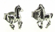 Sterling Silver Mini Prancing Horse Earrings on Posts