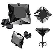 Pair of Black Ip Stainless Steel Princess Cut 2 Carat Black Cz Stud Earrings