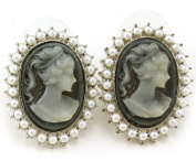 Light Grey Cameo Stud Post Pierced Earrings White Faux Pearl Silver Tone NEW Romantic Fashion Jewellery