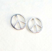 Peace Sign Sterling Silver Post Earrings