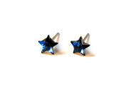 Bermuda Blue Faceted Star. Austrian Crystal Earrings, 5mm