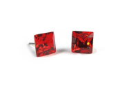 Siam Faceted Square. Austrian Crystal Stud Earrings, 8mm