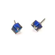 Bermuda Blue Tilted Cube. Austrian Crystal Earrings, 4mm