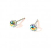 Aurore Boreale Faceted Ball. Austrian Crystal Stud Earrings, 4mm