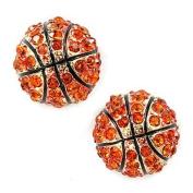Sport Basketball Crystal Rhinestone 14mm Drop Stud Fashion Earrings Gold Orange