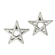 Sterling Silver Pentagram Star Post Earrings Wiccan Pagan Pentacle Jewellery