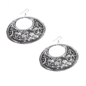 Handcrafted Silver-Tone Brass Arabian Crescent Earring