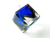 Bermuda Blue Tilted Cube. Austrian Crystal Earrings, 6mm