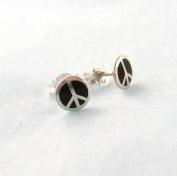 Sterling Silver Enamelled Peace Sign Earrings