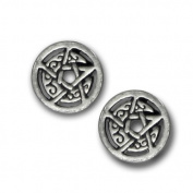 Sterling Silver Crescent Moon Pentacle Pentagram Earring Studs with Circle by Dryad Design