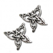 Sterling Silver Butterfly Pentacle Pentagram Earring Studs by Dryad Design