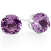1.50 Carat (ctw) 6mm Real Natural Genuine Round Purple Amethyst Round Stud Earring 925 Sterling Silver