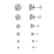 6 Pairs(3,4,5,6,7,8mm) Round Cz .925 Sterling Silver Stud Earrings