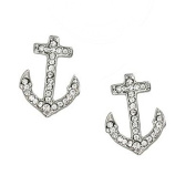 Silvertone Clear Rhinestone Anchor Earrings Fashions Jewellery