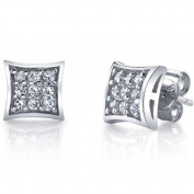 Sterling Silver Kite Shape Stud Earrings With Pave Set Cubic Zirconia