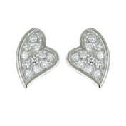 Sterling Silver 14.9mm Clear Cubic Zirconia Slanted Heart Rhodium Plating Nickle Free Earrings