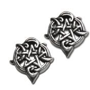 Sterling Silver Heart Pentacle Pentagram Earring Studs by Dryad Design
